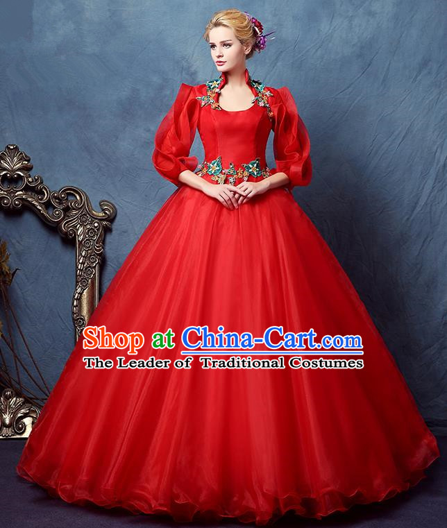 Top Grade Advanced Customization Red Bubble Dress Wedding Dress Compere Bridal Full Dress for Women