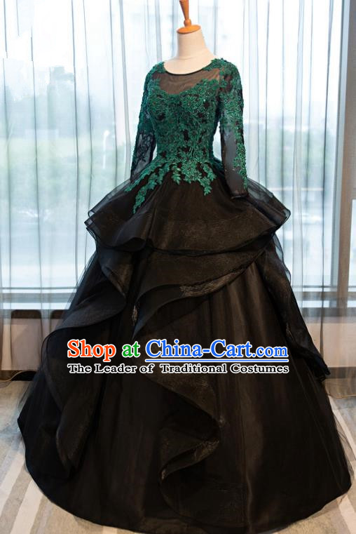 Top Grade Advanced Customization Green Lace Mullet Dress Wedding Dress Compere Bridal Full Dress for Women