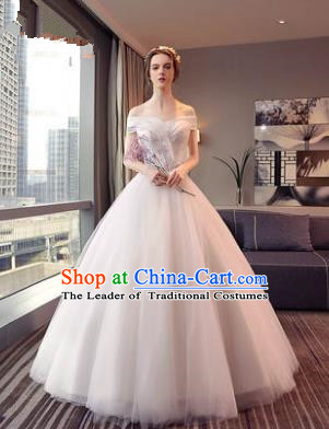 Top Grade Advanced Customization White Veil Dress Wedding Dress Compere Bridal Full Dress for Women