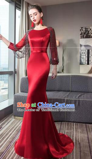 Top Grade Advanced Customization Red Satin Dress Wedding Dress Compere Bridal Full Dress for Women