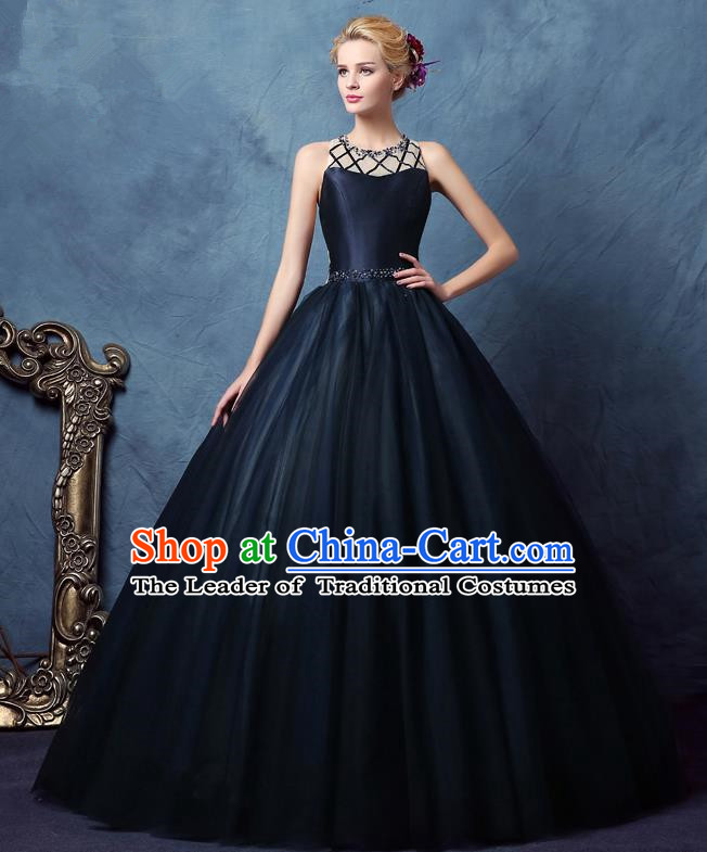 Top Grade Advanced Customization Navy Bubble Dress Wedding Dress Compere Bridal Full Dress for Women