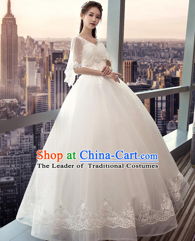 Top Grade Advanced Customization White Veil Bubble Dress Wedding Dress Compere Bridal Full Dress for Women
