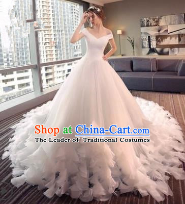 Top Grade Advanced Customization Mullet Dress Flat Shouders Wedding Dress Compere Bridal Full Dress for Women