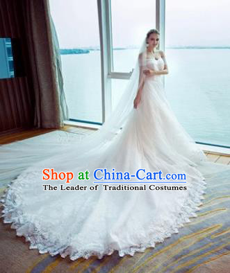 Top Grade Advanced Customization White Veil Trailing Evening Dress Wedding Dress Compere Bridal Full Dress for Women