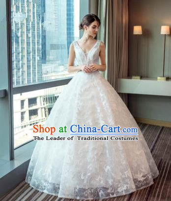Top Grade Advanced Customization White Lace Veil Evening Dress Wedding Dress Compere Bridal Full Dress for Women