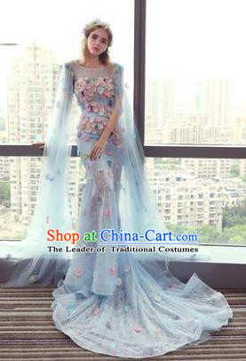 Top Grade Advanced Customization Blue Mermaid Evening Dress Wedding Dress Compere Bridal Full Dress for Women