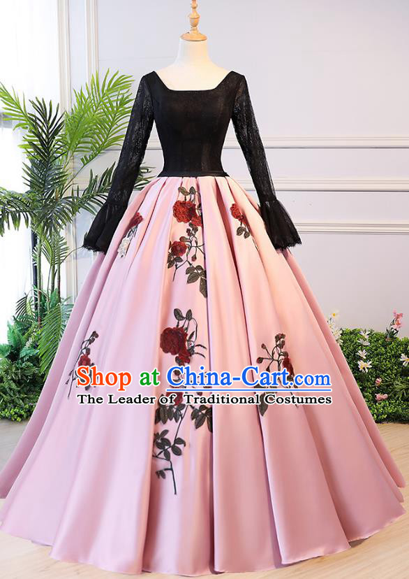 Top Grade Advanced Customization Pink Bubble Evening Dress Wedding Dress Compere Bridal Full Dress for Women