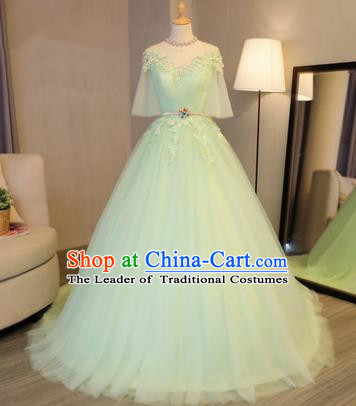 Top Grade Advanced Customization Evening Dress Green Veil Trailing Wedding Dress Compere Bridal Full Dress for Women