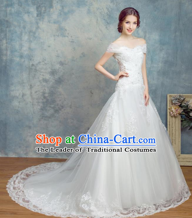 Top Grade Advanced Customization Trailing Evening Dress White Veil Wedding Dress Compere Bridal Full Dress for Women