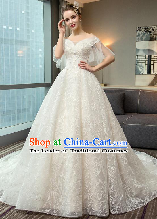 Top Grade Advanced Customization Trailing Evening Dress Wedding Dress Compere Bridal Full Dress for Women