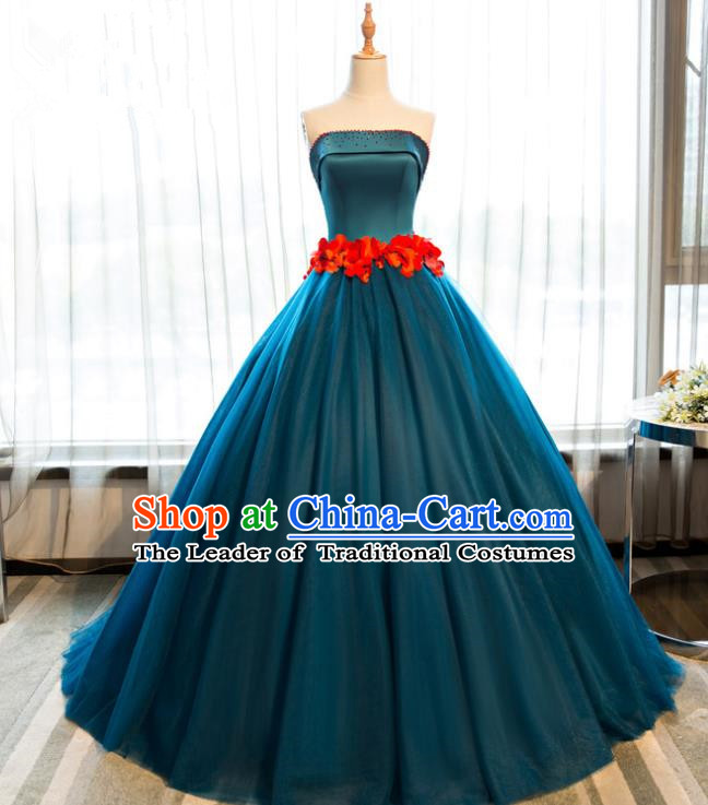 Top Grade Advanced Customization Atrovirens Evening Dress Wedding Dress Compere Bridal Full Dress for Women