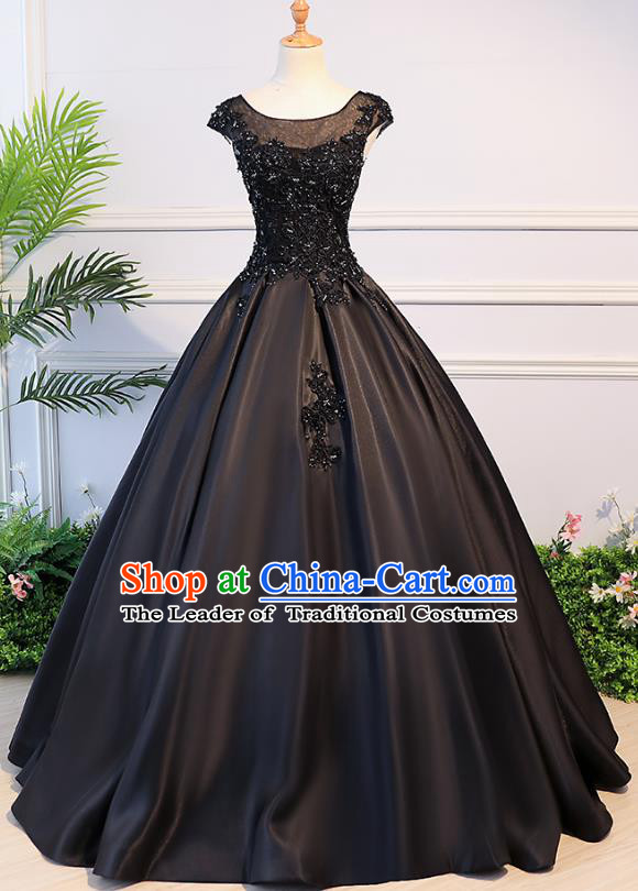 Top Grade Advanced Customization Evening Dress Black Satin Wedding Dress Compere Bridal Full Dress for Women
