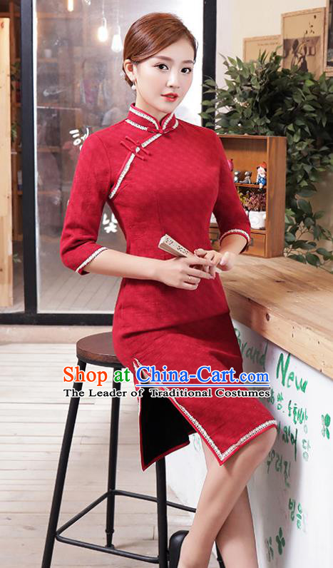 Top Grade Chinese Red Lace Qipao Dress National Costume Traditional Mandarin Cheongsam for Women