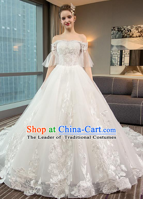 Top Grade Advanced Customization White Lace Mullet Dress Wedding Dress Compere Bridal Full Dress for Women