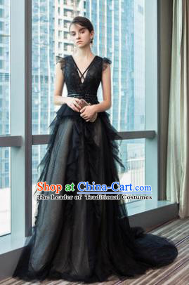 Top Grade Advanced Customization Black Veil Dress Wedding Dress Compere Bridal Full Dress for Women