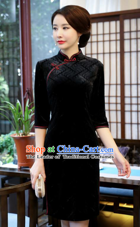 Top Grade Chinese Black Velvet Qipao Dress National Costume Traditional Mandarin Cheongsam for Women