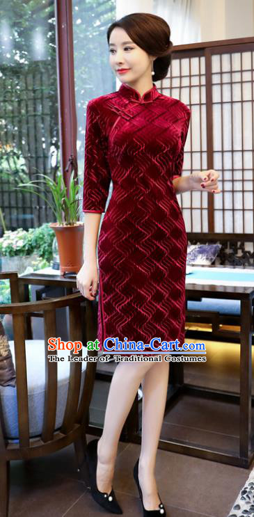 Top Grade Chinese Wine Red Velvet Qipao Dress National Costume Traditional Mandarin Cheongsam for Women