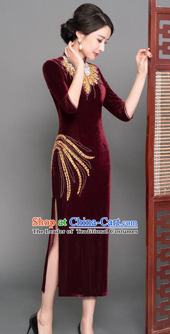 Top Grade Chinese Wine Red Velvet Beading Qipao Dress National Costume Traditional Mandarin Cheongsam for Women