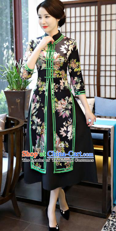 Top Grade Chinese Printing Black Qipao Dress National Costume Traditional Mandarin Cheongsam for Women