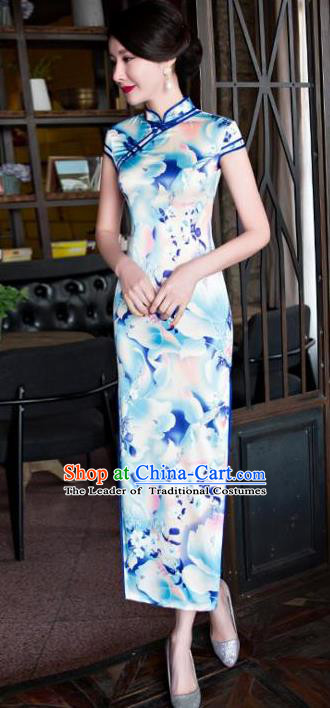 Top Grade Chinese Printing Light Blue Silk Qipao Dress National Costume Traditional Mandarin Cheongsam for Women