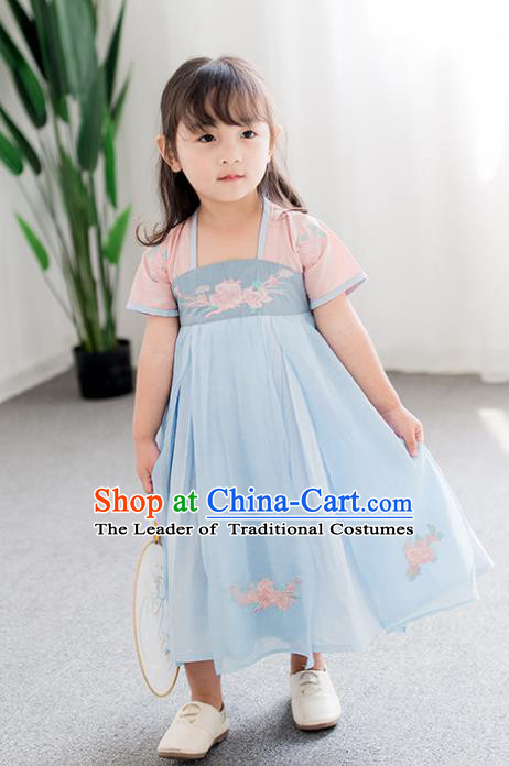 Chinese Ancient Costume Children Blue Hanfu Dress Classical Dance Stage Performance Clothing for Kids