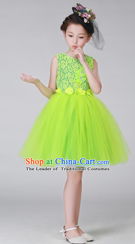 Top Grade Stage Performance Costumes Children Modern Dance Green Bubble Dress Modern Fancywork Clothing for Kids