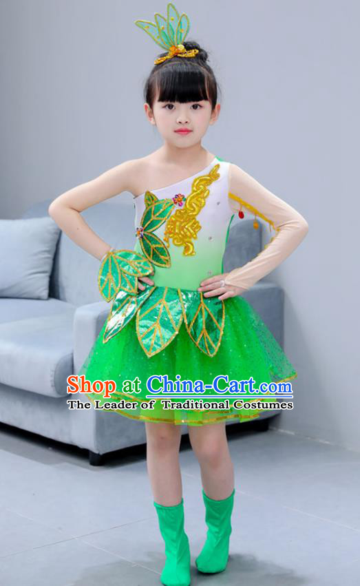 Top Grade Chorus Stage Performance Costumes Children Modern Lotus Dance Green Dress Modern Fancywork Clothing for Kids