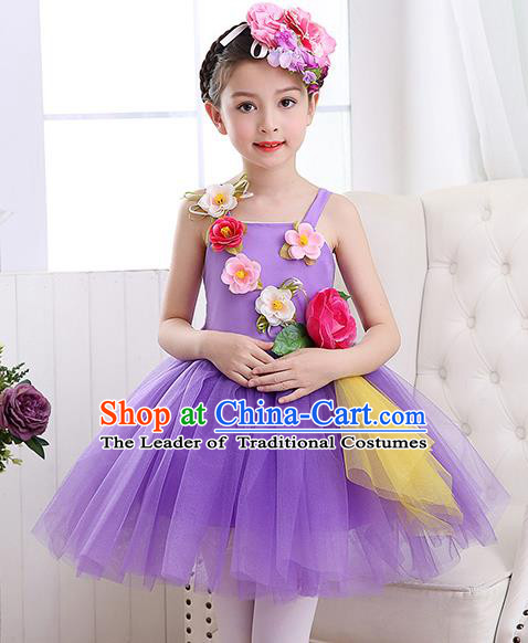 Top Grade Chorus Costumes Children Stage Performance Modern Dance Purple Bubble Dress for Kids