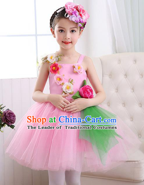 Top Grade Chorus Costumes Children Stage Performance Modern Dance Pink Bubble Dress for Kids