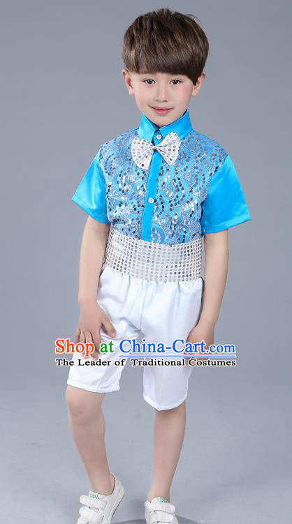 Top Grade Boys Chorus Sequins Costumes Children Compere Modern Dance Blue Clothing for Kids