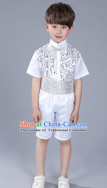 Top Grade Boys Chorus Sequins Costumes Children Compere Modern Dance White Clothing for Kids