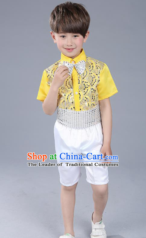 Top Grade Boys Chorus Sequins Costumes Children Compere Modern Dance Yellow Clothing for Kids