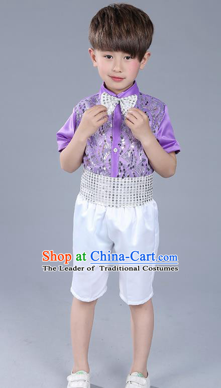 Top Grade Boys Chorus Sequins Costumes Children Compere Modern Dance Purple Clothing for Kids