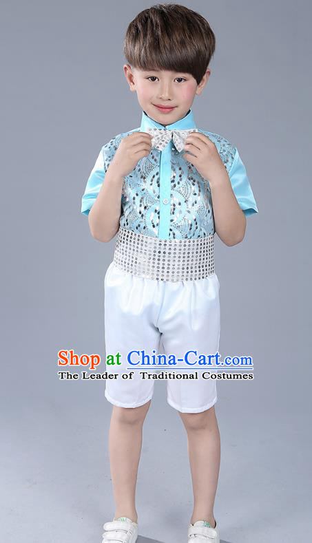 Top Grade Boys Chorus Sequins Costumes Children Compere Modern Dance Light Blue Clothing for Kids
