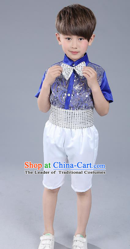 Top Grade Boys Chorus Sequins Costumes Children Compere Modern Dance Royalblue Clothing for Kids