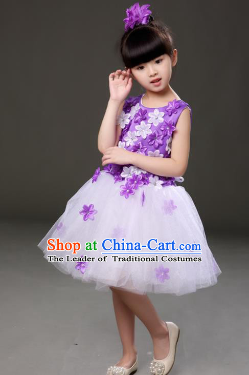 Top Grade Chorus Costumes Children Modern Dance Purple Flowers Bubble Dress for Kids