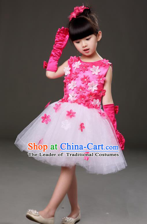 Top Grade Chorus Costumes Children Modern Dance Rosy Flowers Bubble Dress for Kids