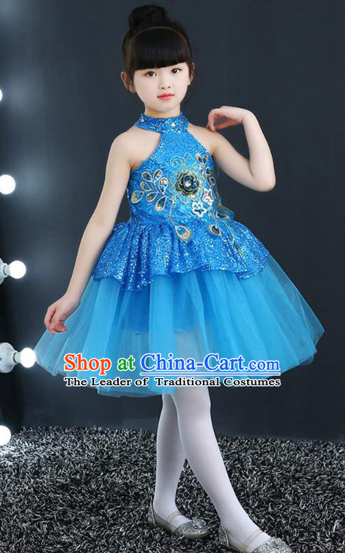 Top Grade Chorus Costumes Children Modern Dance Blue Sequin Bubble Dress for Kids