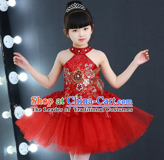 Top Grade Chorus Costumes Children Modern Dance Red Sequin Bubble Dress for Kids