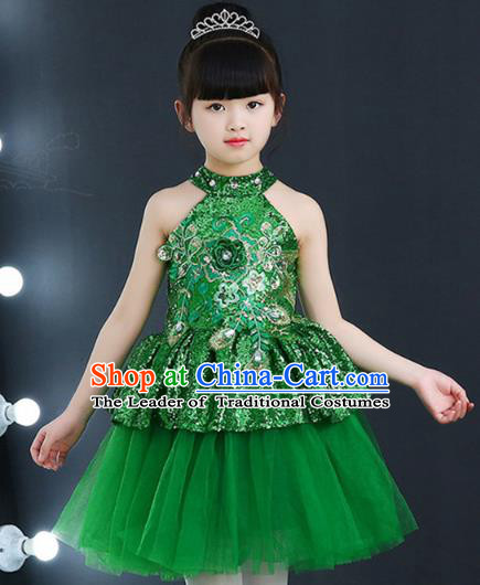Top Grade Chorus Costumes Children Modern Dance Green Sequin Bubble Dress for Kids