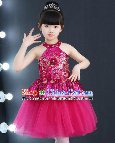 Top Grade Chorus Costumes Children Modern Dance Rosy Sequin Bubble Dress for Kids