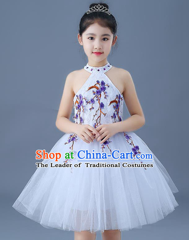 Top Grade Chorus Costumes Children Modern Dance Embroidered Purple Plum Blossom Bubble Dress for Kids