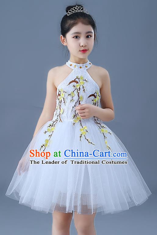Top Grade Chorus Costumes Children Modern Dance Embroidered Yellow Plum Blossom Bubble Dress for Kids