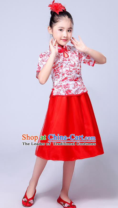 Chinese Ancient Chorus Costume Children Classical Dance Red Dress Stage Performance Clothing for Kids