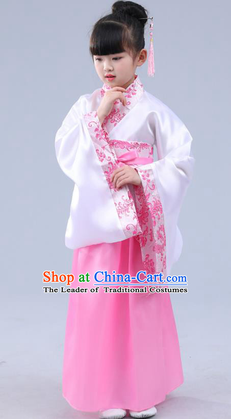Chinese Ancient Costume Children Pink Hanfu Classical Dance Dress Stage Performance Clothing for Kids