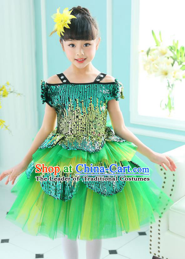 Top Grade Chorus Sequins Costumes Children Stage Performance Modern Dance Green Bubble Dress for Kids