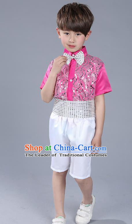 Top Grade Boys Chorus Sequins Costumes Children Compere Modern Dance Rosy Clothing for Kids