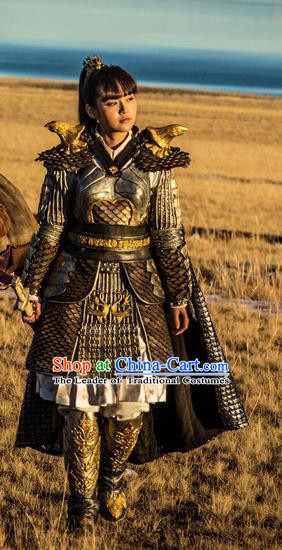 Tribes and Empires:Storm of Prophecy Chinese Ancient Swordswoman Costumes Female General Body Armour for Women