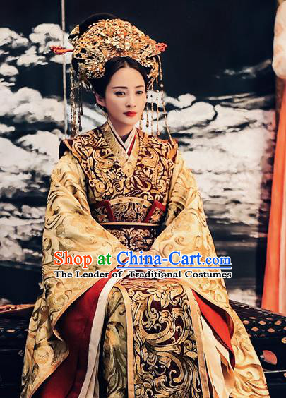 Tribes and Empires:Storm of Prophecy Chinese Ancient Palace Empress Embroidered Costumes and Headpiece Complete Set