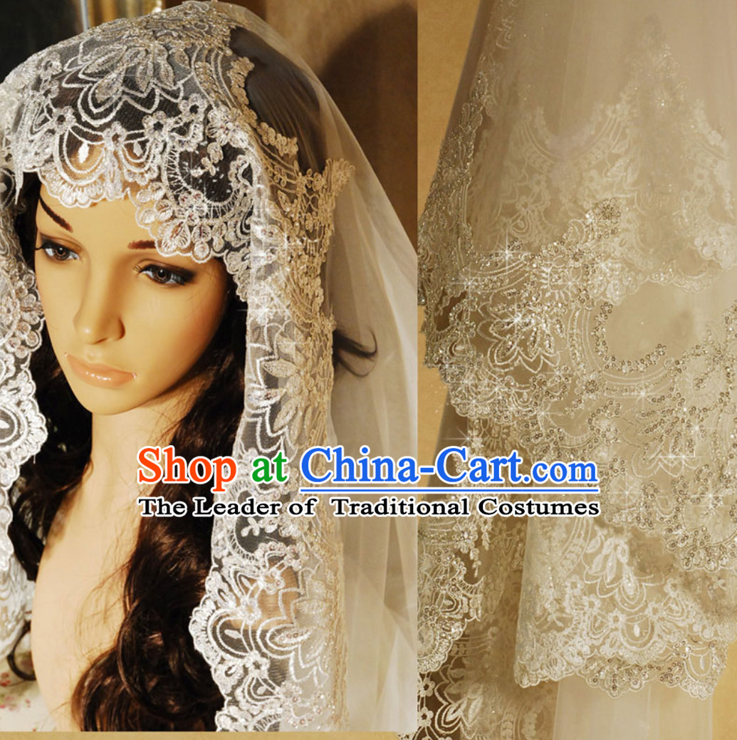 Super Long 3 Meters Long Chinese Classical Wedding Veil with Silver Embroidery
